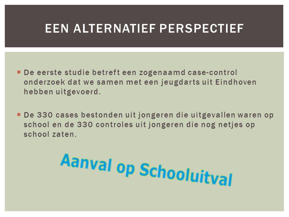  De eerste studie betreft een zogenaamd case-control onderzoek dat we samen met een jeugdarts uit Eindhoven hebben uitgevoerd.  De 330 cases bestond