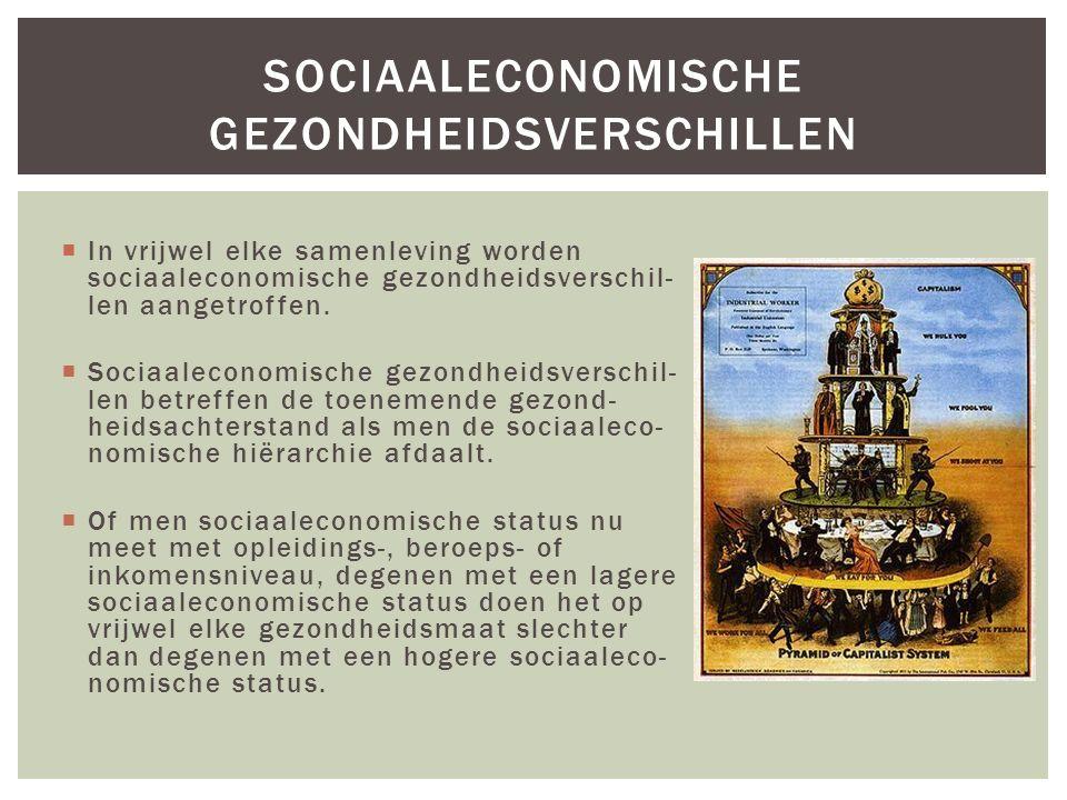  In vrijwel elke samenleving worden sociaaleconomische gezondheidsverschil- len aangetroffen.  Sociaaleconomische gezondheidsverschil- len betreffen