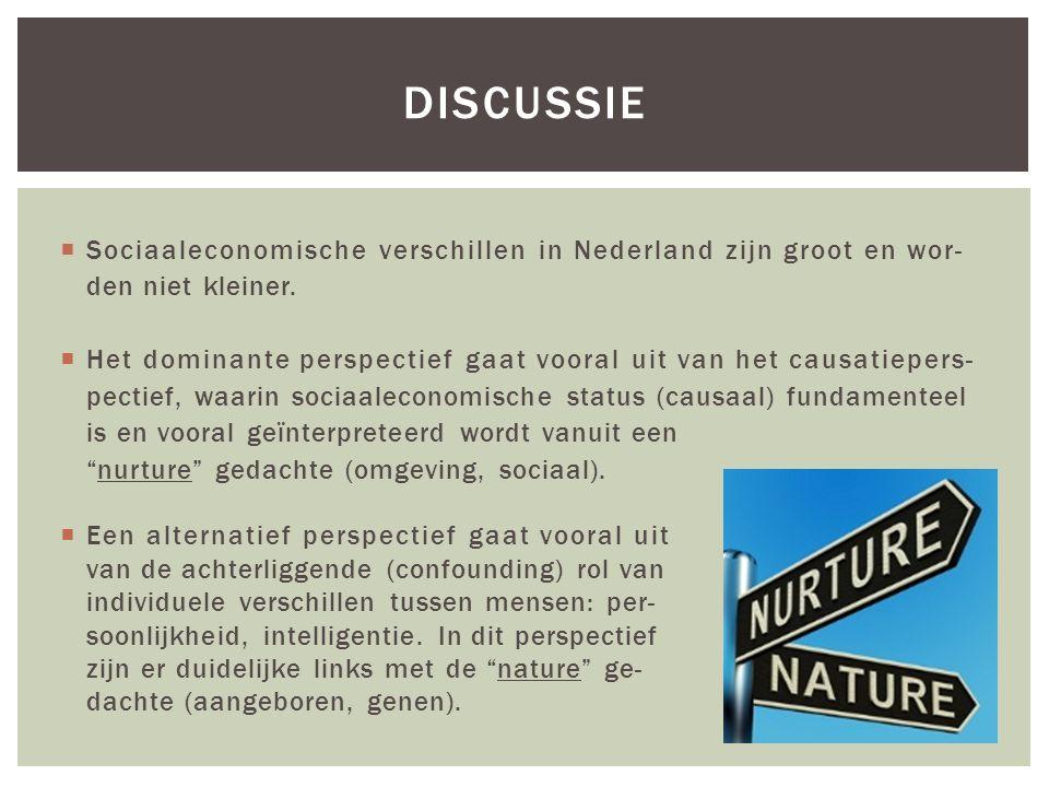  Sociaaleconomische verschillen in Nederland zijn groot en wor- den niet kleiner.  Het dominante perspectief gaat vooral uit van het causatiepers- p