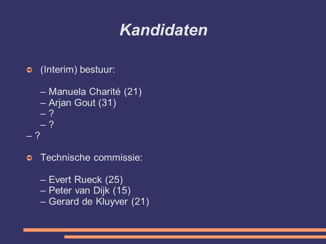 Kandidaten ➲ (Interim) bestuur: – Manuela Charité (21) – Arjan Gout (31) – .