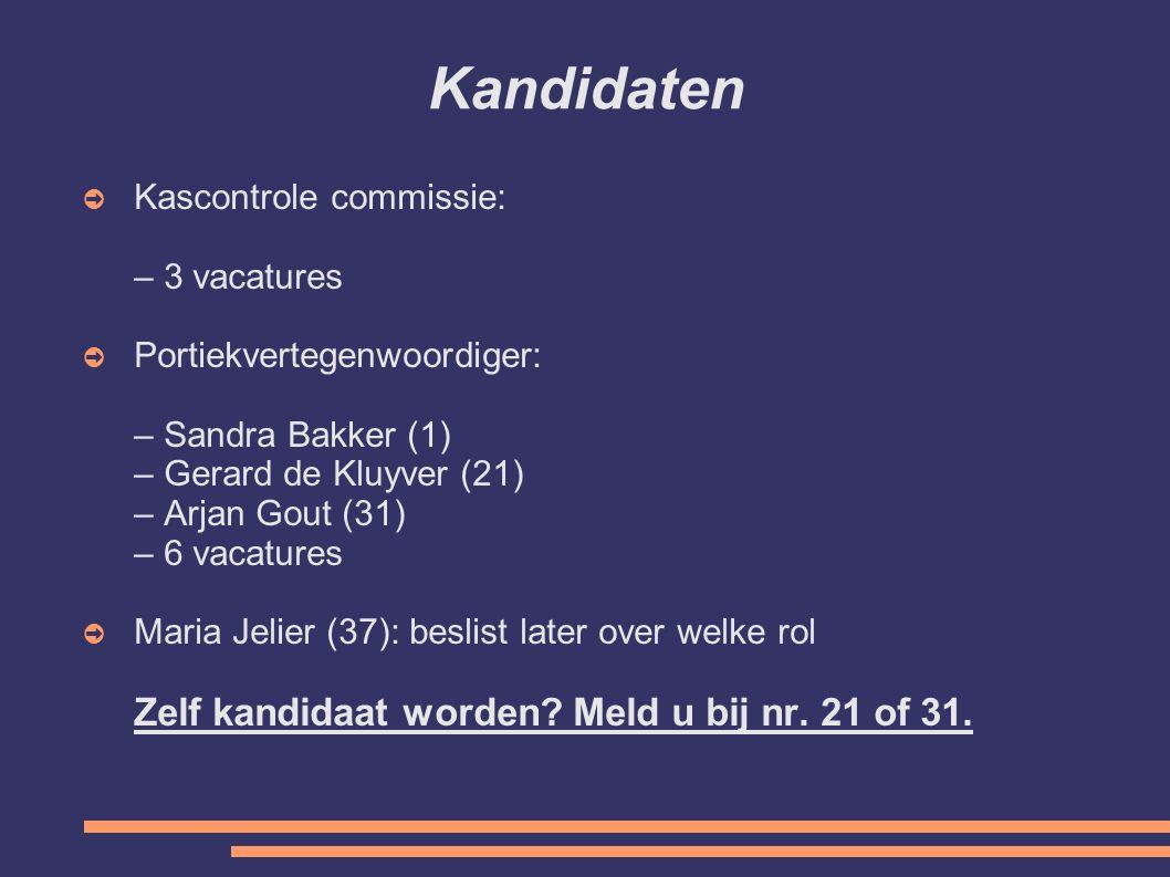 Kandidaten ➲ Kascontrole commissie: – 3 vacatures ➲ Portiekvertegenwoordiger: – Sandra Bakker (1) – Gerard de Kluyver (21) – Arjan Gout (31) – 6 vacatures ➲ Maria Jelier (37): beslist later over welke rol Zelf kandidaat worden.
