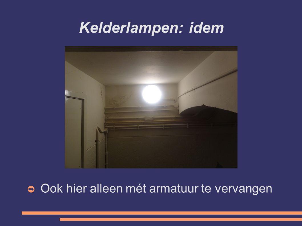 Kelderlampen: kosten vervanging ➲ Bij aanleg: € 210 per lamp/armatuur ➲ Bij vervanging: € 163 per lamp/armatuur