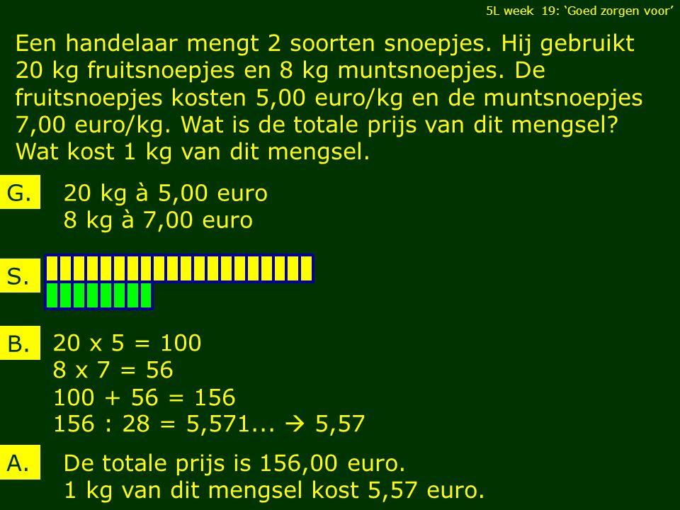 Een handelaar mengt 2 soorten snoepjes. Hij gebruikt 20 kg fruitsnoepjes en 8 kg muntsnoepjes.