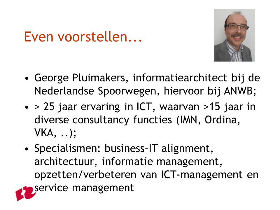 Even voorstellen... George Pluimakers, informatiearchitect bij de Nederlandse Spoorwegen, hiervoor bij ANWB; > 25 jaar ervaring in ICT, waarvan >15 ja
