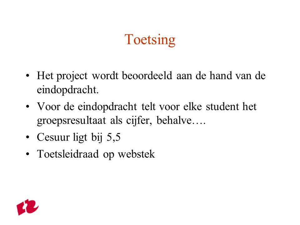 Toetsing Het project wordt beoordeeld aan de hand van de eindopdracht.