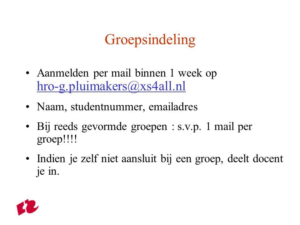 Groepsindeling Aanmelden per mail binnen 1 week op hro-g.pluimakers@xs4all.nl hro-g.pluimakers@xs4all.nl Naam, studentnummer, emailadres Bij reeds gevormde groepen : s.v.p.