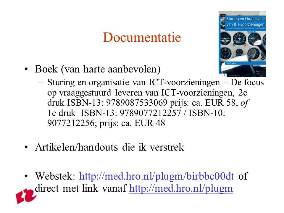 Documentatie Boek (van harte aanbevolen) –Sturing en organisatie van ICT-voorzieningen – De focus op vraaggestuurd leveren van ICT-voorzieningen, 2e druk ISBN-13: 9789087533069 prijs: ca.