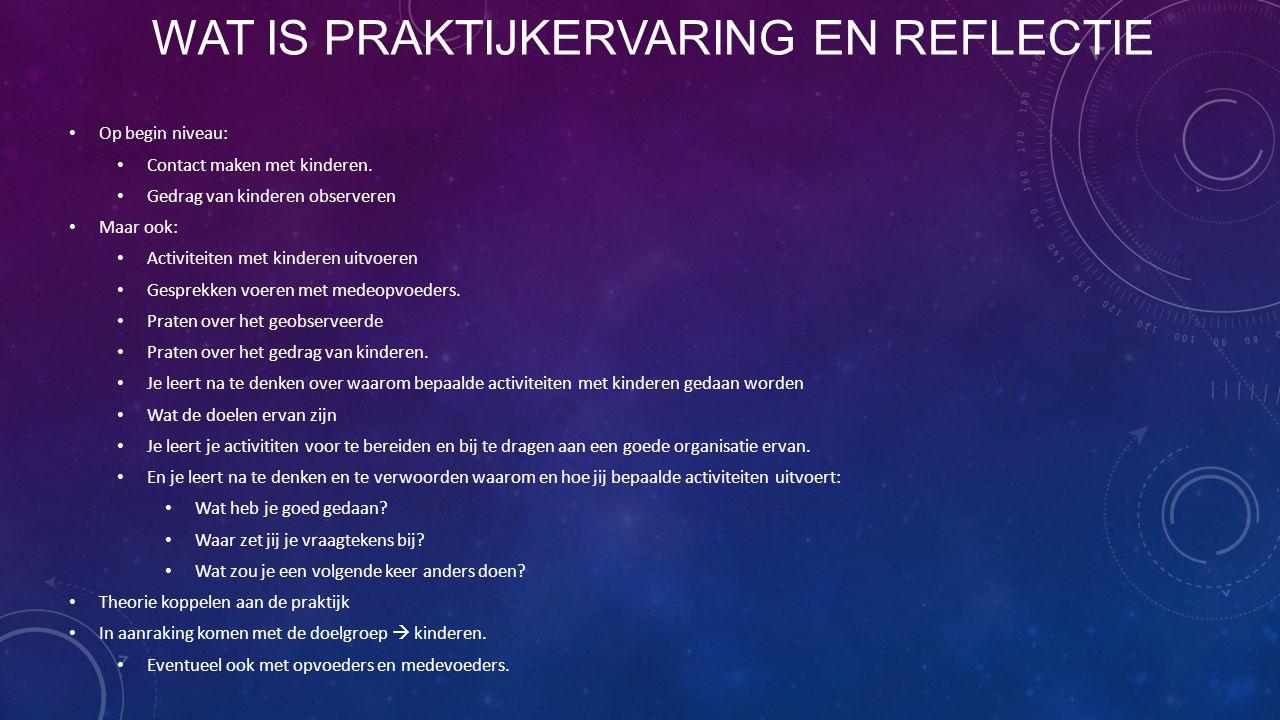 PROGRAMMA Wat is Praktijkervaring en reflectie Praktijkmogelijkheden De uitvoering Begeleiding Competenties Studieactiviteiten Wie heeft er al een plek.