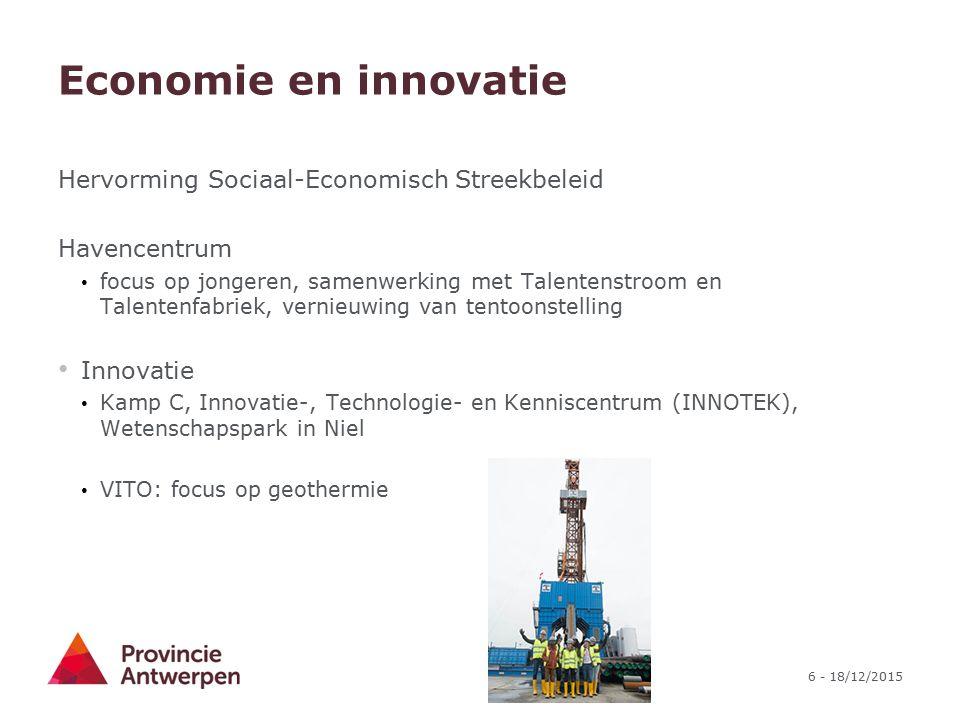 6 - 18/12/2015 Economie en innovatie Hervorming Sociaal-Economisch Streekbeleid Havencentrum focus op jongeren, samenwerking met Talentenstroom en Tal