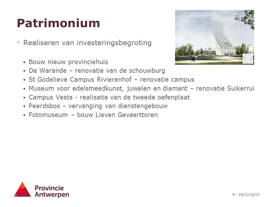 8 - 18/12/2015 Patrimonium Realiseren van investeringsbegroting Bouw nieuw provinciehuis De Warande – renovatie van de schouwburg St Godelieve Campus