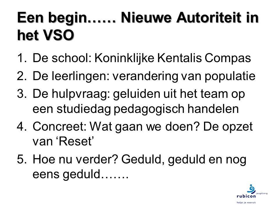 Een begin…… Nieuwe Autoriteit in het VSO 1.De school: Koninklijke Kentalis Compas 2.De leerlingen: verandering van populatie 3.De hulpvraag: geluiden