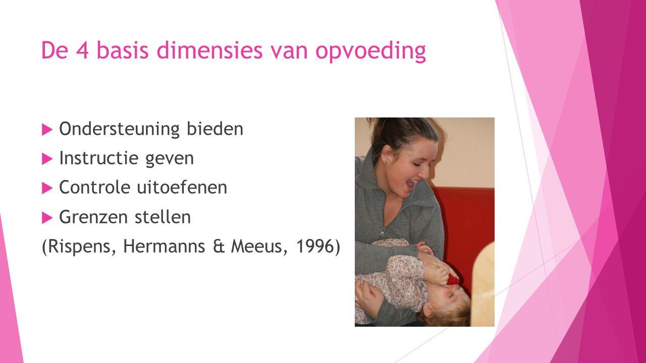 De 4 basis dimensies van opvoeding  Ondersteuning bieden  Instructie geven  Controle uitoefenen  Grenzen stellen (Rispens, Hermanns & Meeus, 1996)