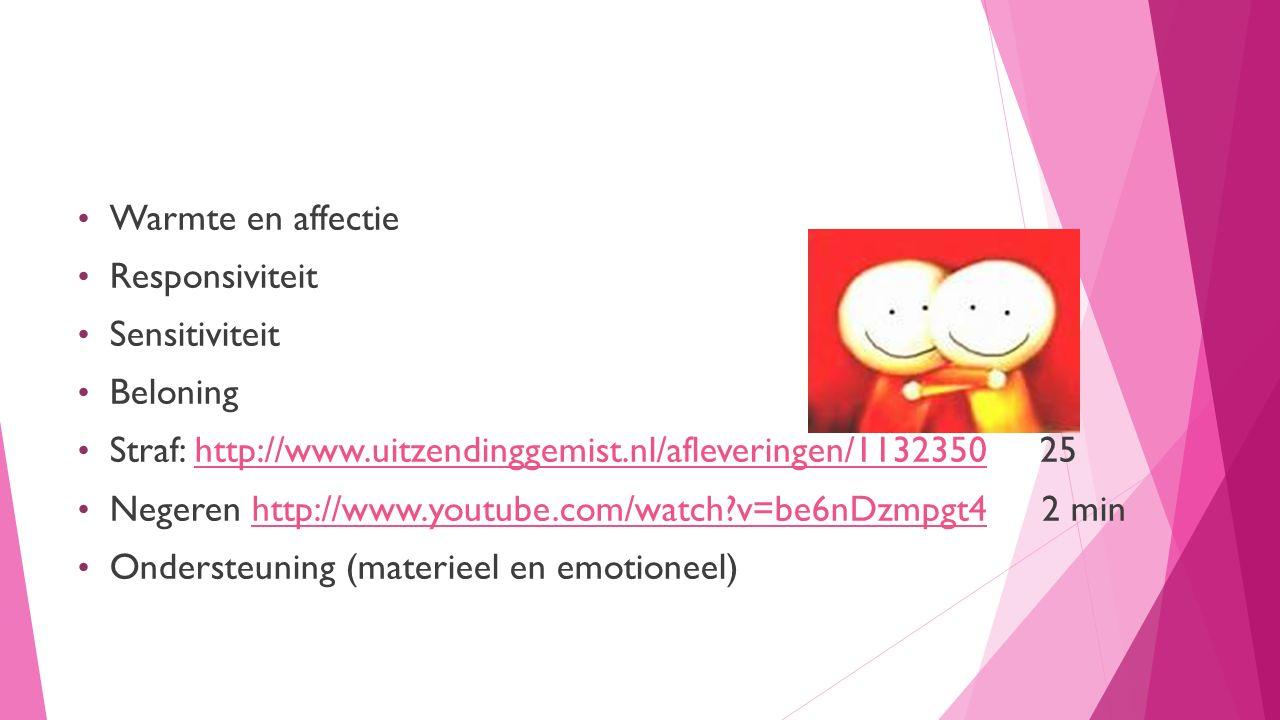 1 Ondersteuning bieden Warmte en affectie Responsiviteit Sensitiviteit Beloning Straf: http://www.uitzendinggemist.nl/afleveringen/1132350 25http://www.uitzendinggemist.nl/afleveringen/1132350 Negeren http://www.youtube.com/watch?v=be6nDzmpgt4 2 minhttp://www.youtube.com/watch?v=be6nDzmpgt4 Ondersteuning (materieel en emotioneel)