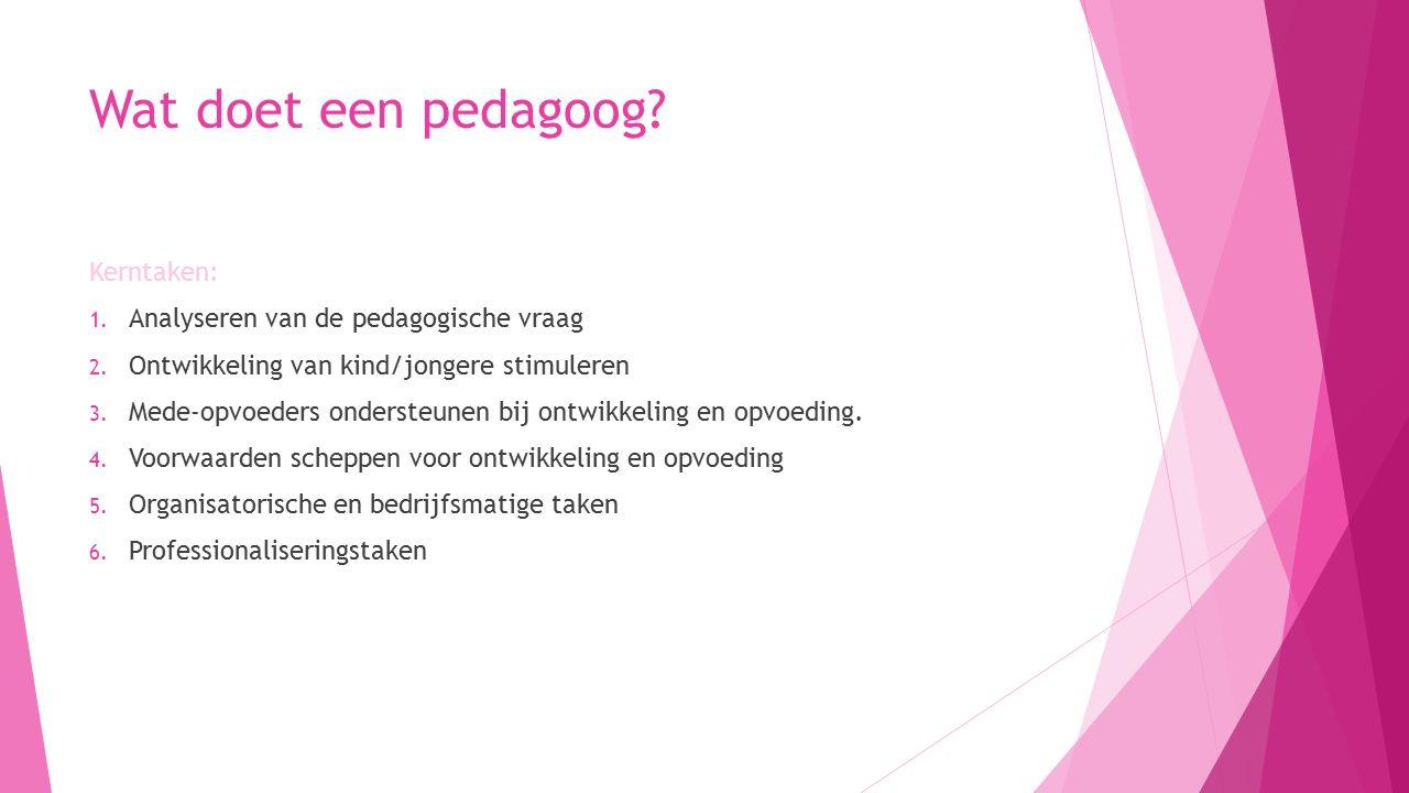 Wat doet een pedagoog.Kerntaken: 1. Analyseren van de pedagogische vraag 2.