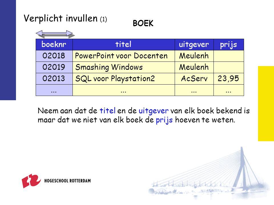 Verplicht invullen (1) boeknrtiteluitgever 02018PowerPoint voor DocentenMeulenh 02019Smashing WindowsMeulenh 02013SQL voor Playstation2AcServ prijs 23,95 BOEK...