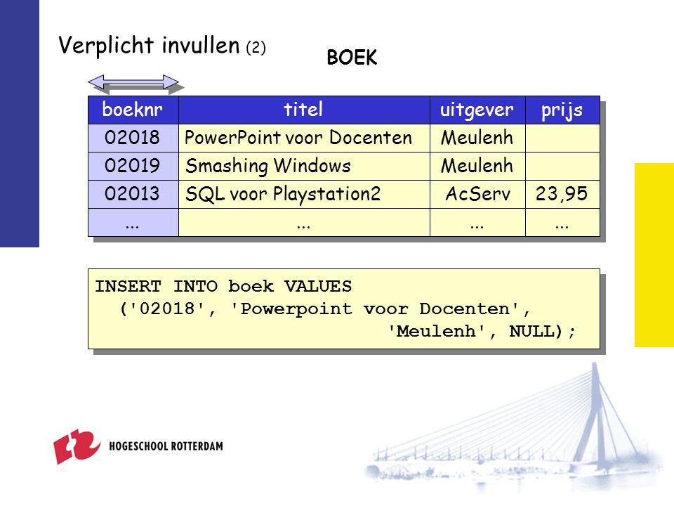 Verplicht invullen (2) boeknrtiteluitgever 02018PowerPoint voor DocentenMeulenh 02019Smashing WindowsMeulenh 02013SQL voor Playstation2AcServ prijs 23,95 BOEK...
