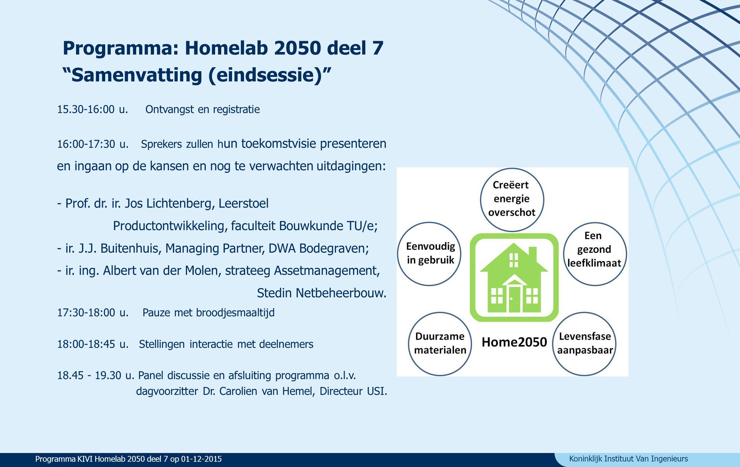 Koninklijk Instituut Van Ingenieurs Stellingen voor: Hoe goed is de woning in 2050? Eindsessie programma Homelab2050 Programma KIVI Homelab 2050 deel 7 op 01-12-2015