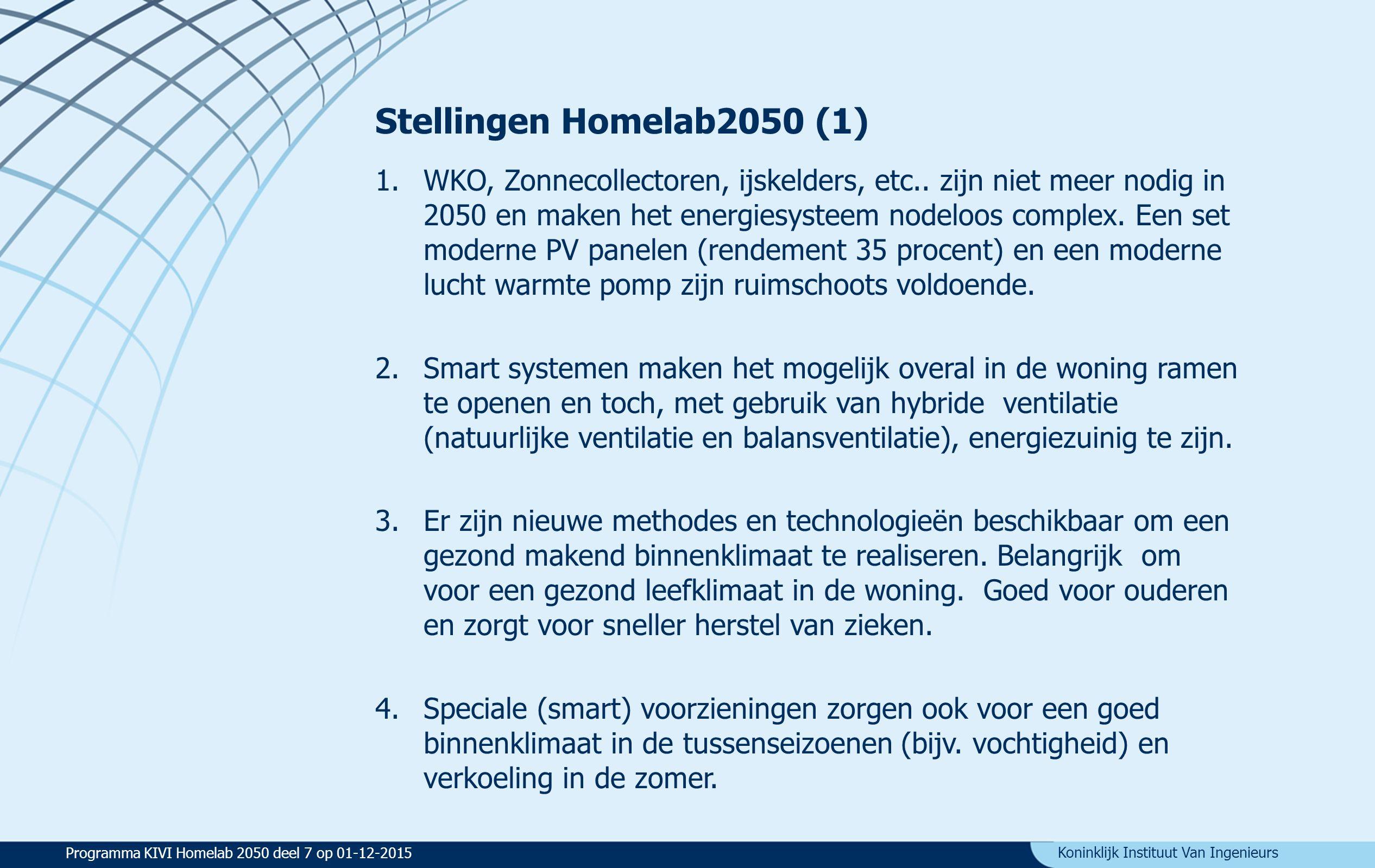 Koninklijk Instituut Van Ingenieurs Stellingen Homelab2050 (2) 5.In 2050 zullen (zorg) robots gebruikt worden in de woningen die daarvoor ontworpen (of aangepast) zijn.