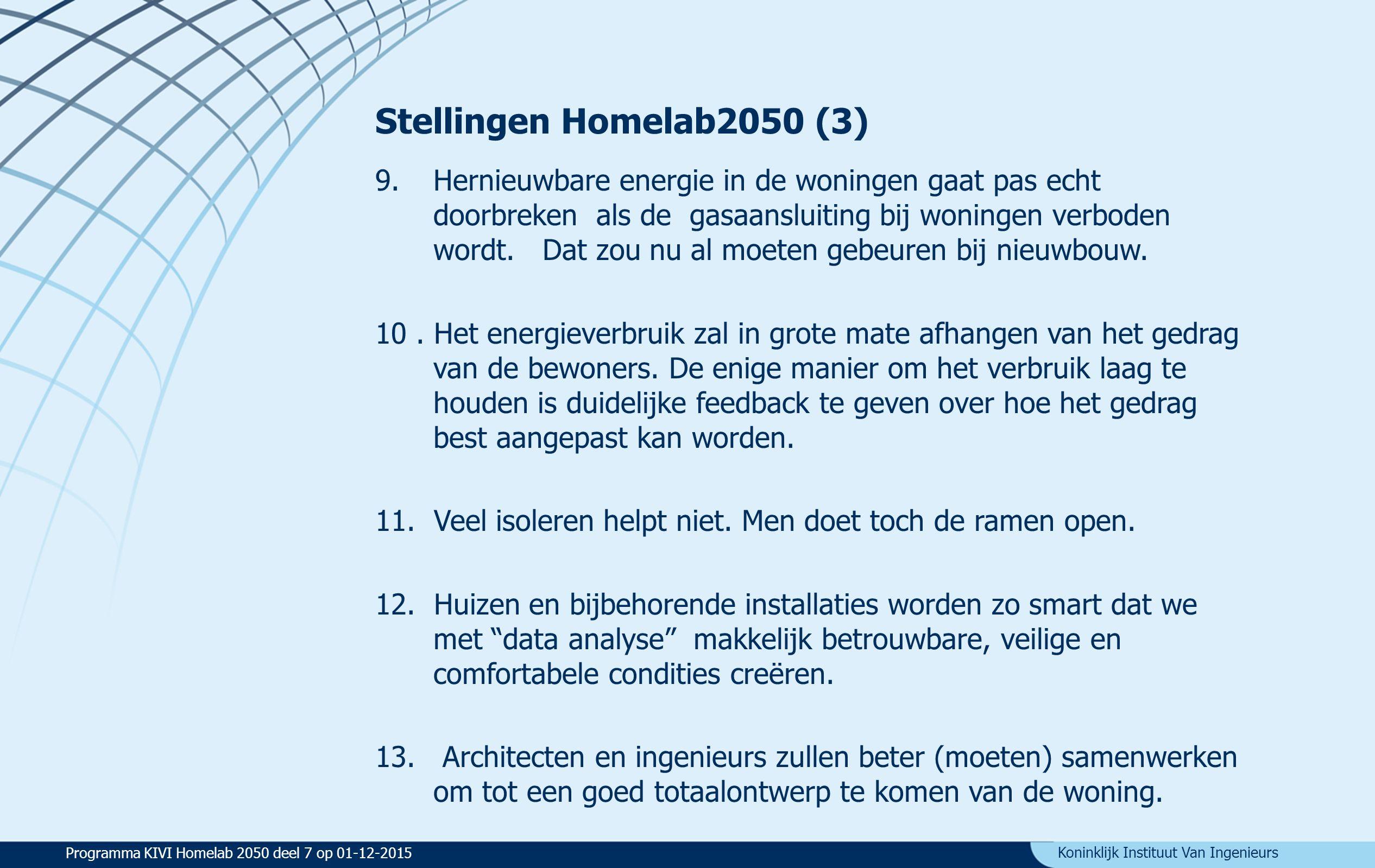 Koninklijk Instituut Van Ingenieurs Stellingen Homelab2050 (3) 9.Hernieuwbare energie in de woningen gaat pas echt doorbreken als de gasaansluiting bij woningen verboden wordt.
