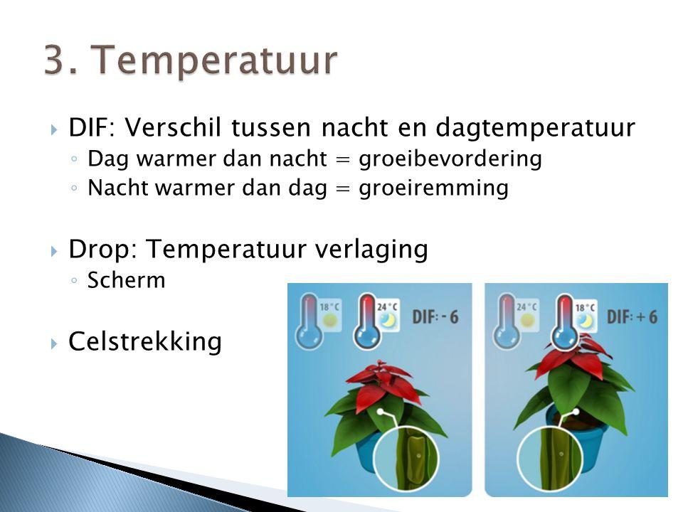  DIF: Verschil tussen nacht en dagtemperatuur ◦ Dag warmer dan nacht = groeibevordering ◦ Nacht warmer dan dag = groeiremming  Drop: Temperatuur verlaging ◦ Scherm  Celstrekking