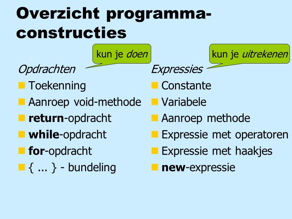Overzicht programma- constructies Opdrachten nToekenning nAanroep void-methode nreturn-opdracht nwhile-opdracht nfor-opdracht n{... } - bundeling Expr