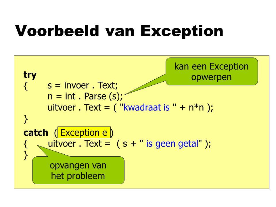 Voorbeeld van Exception s = invoer. Text; n = int.