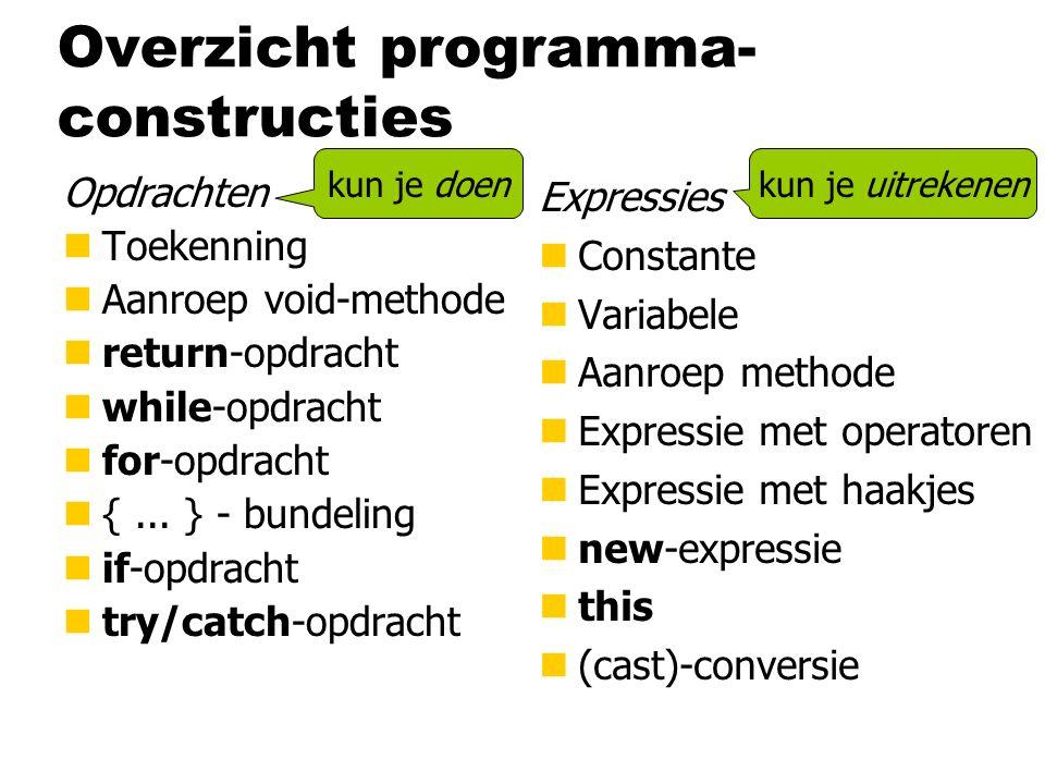 Overzicht programma- constructies Opdrachten nToekenning nAanroep void-methode nreturn-opdracht nwhile-opdracht nfor-opdracht n{... } - bundeling nif-