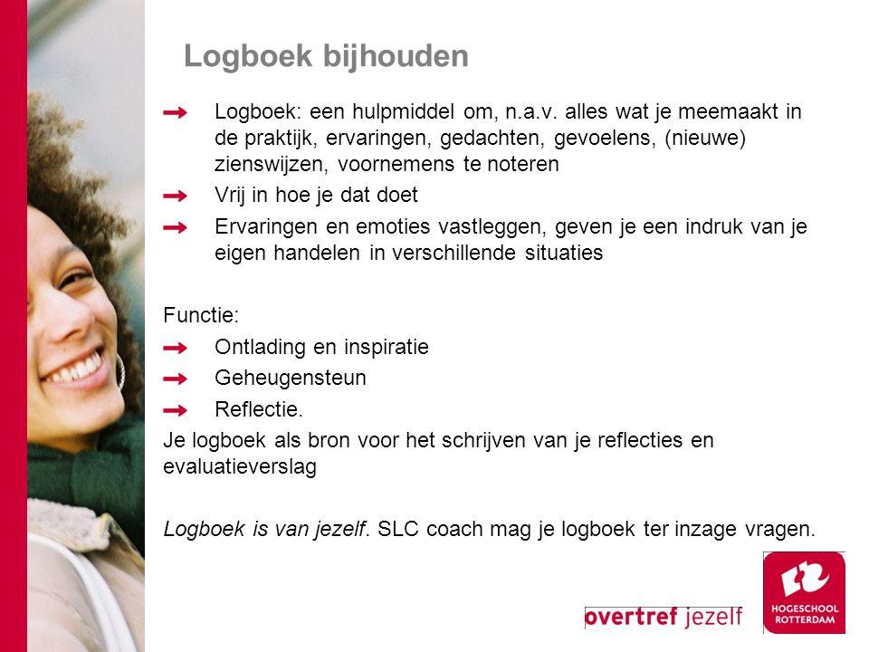 Logboek bijhouden Logboek: een hulpmiddel om, n.a.v. alles wat je meemaakt in de praktijk, ervaringen, gedachten, gevoelens, (nieuwe) zienswijzen, voo
