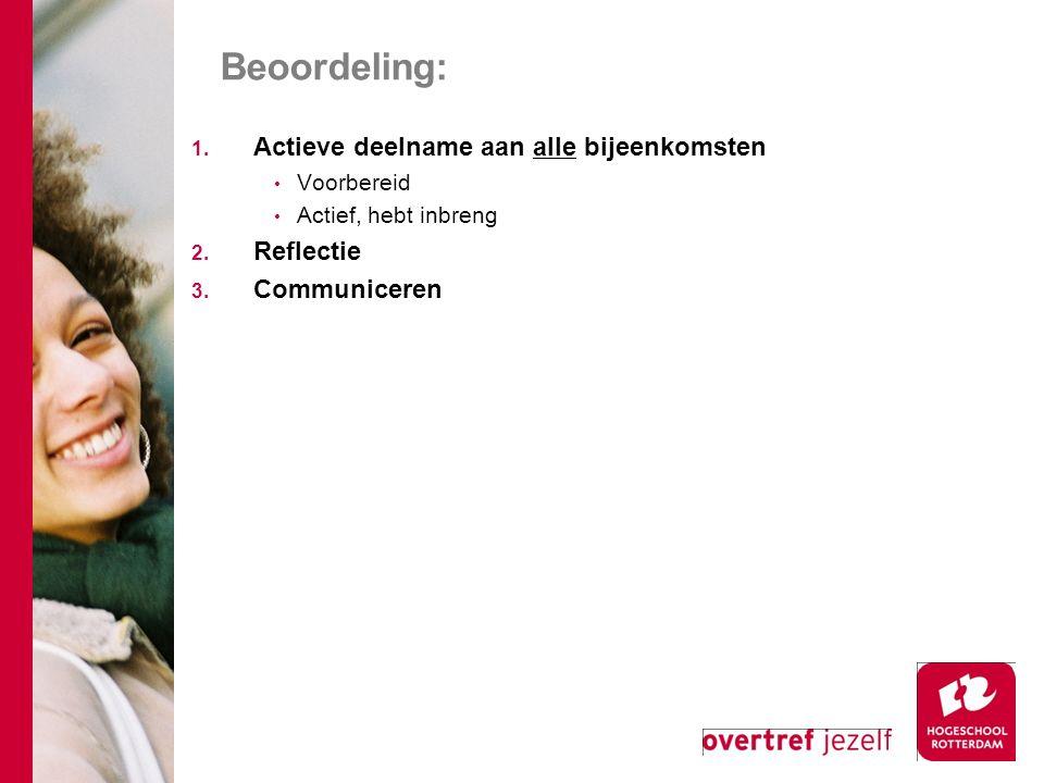Beoordeling: 1. Actieve deelname aan alle bijeenkomsten Voorbereid Actief, hebt inbreng 2. Reflectie 3. Communiceren