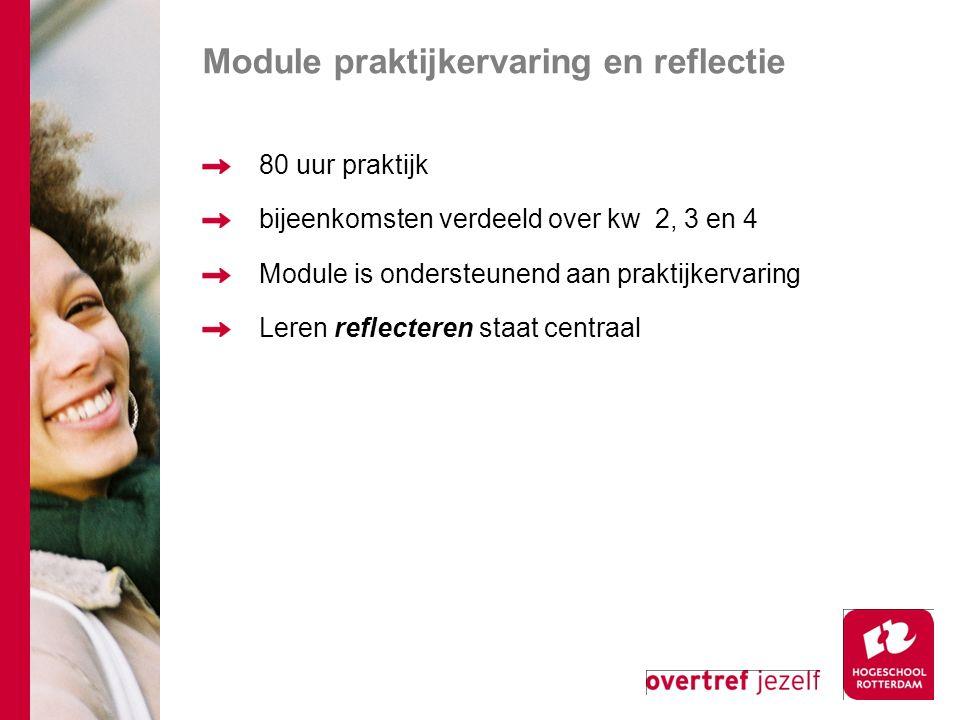 Module praktijkervaring en reflectie 80 uur praktijk bijeenkomsten verdeeld over kw 2, 3 en 4 Module is ondersteunend aan praktijkervaring Leren reflecteren staat centraal