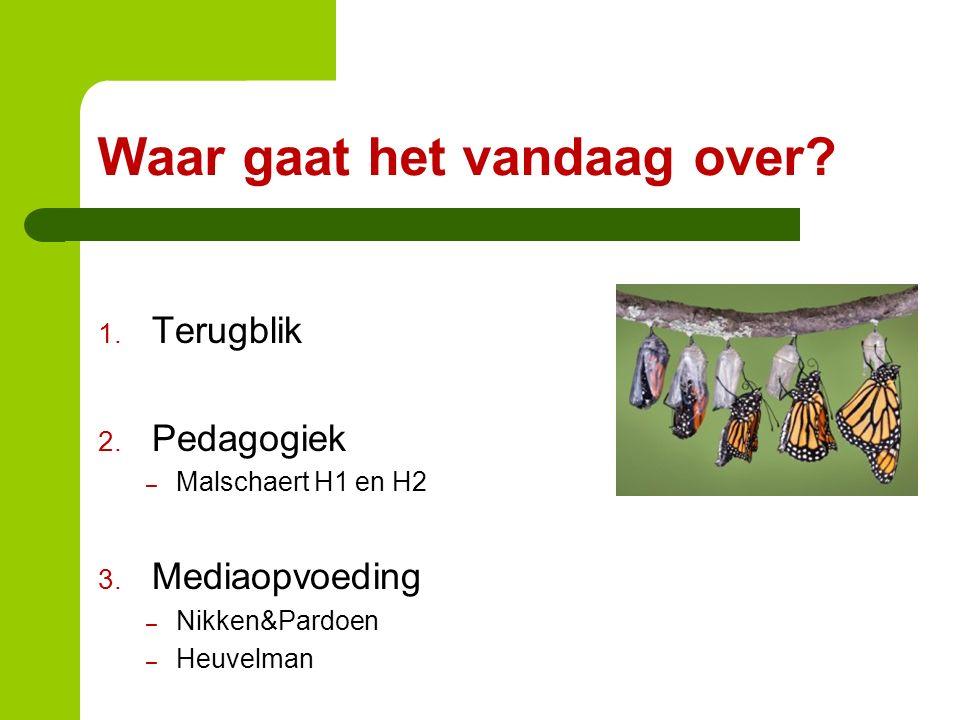 Waar gaat het vandaag over? 1. Terugblik 2. Pedagogiek – Malschaert H1 en H2 3. Mediaopvoeding – Nikken&Pardoen – Heuvelman