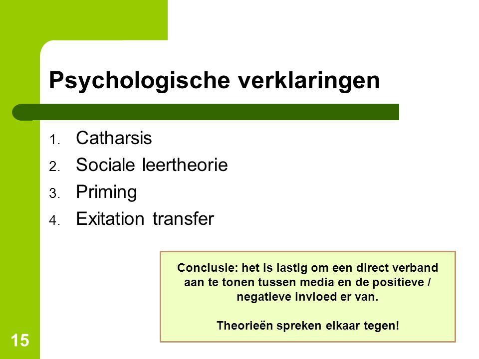 Psychologische verklaringen 1. Catharsis 2. Sociale leertheorie 3. Priming 4. Exitation transfer 15 Conclusie: het is lastig om een direct verband aan
