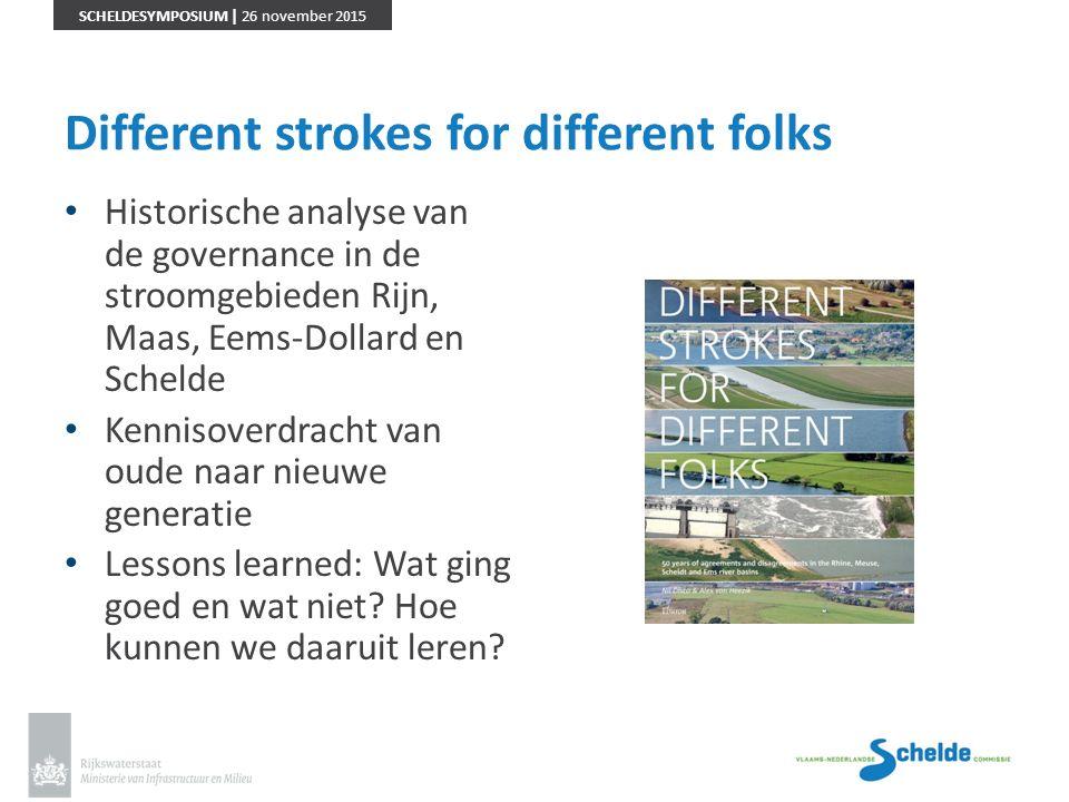 SCHELDESYMPOSIUM | 26 november 2015 Different strokes for different folks Historische analyse van de governance in de stroomgebieden Rijn, Maas, Eems-
