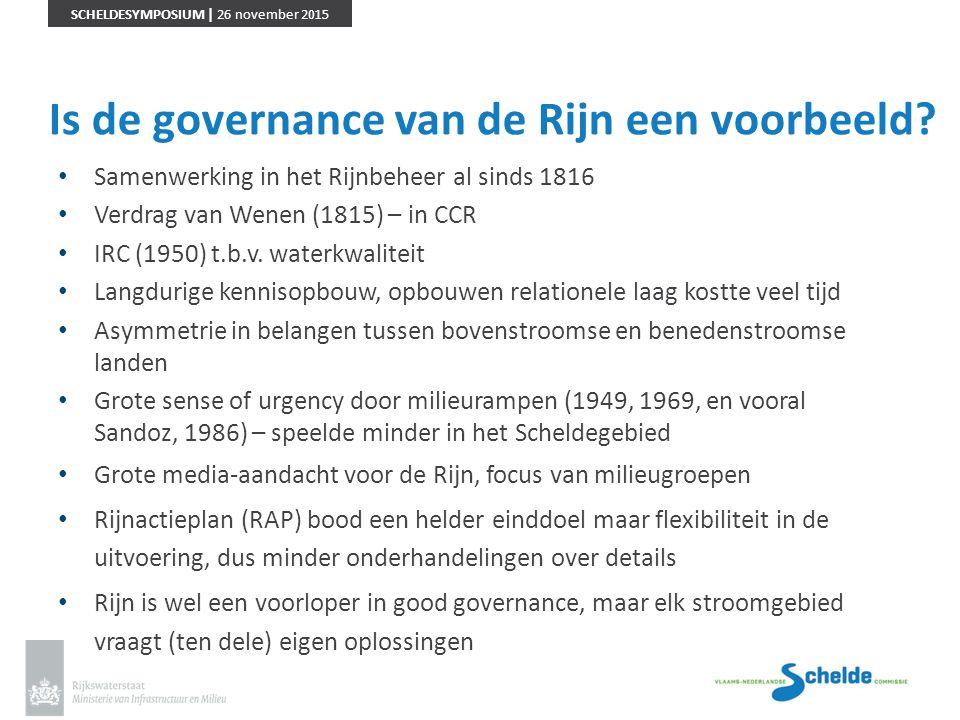 SCHELDESYMPOSIUM | 26 november 2015 Is de governance van de Rijn een voorbeeld? Samenwerking in het Rijnbeheer al sinds 1816 Verdrag van Wenen (1815)