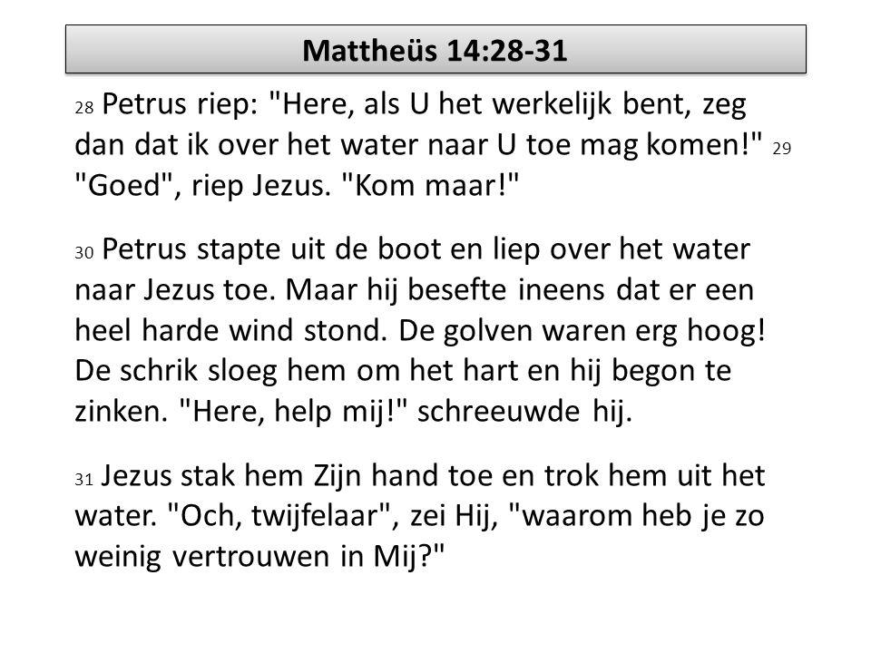 Mattheüs 14:28-31 28 Petrus riep: