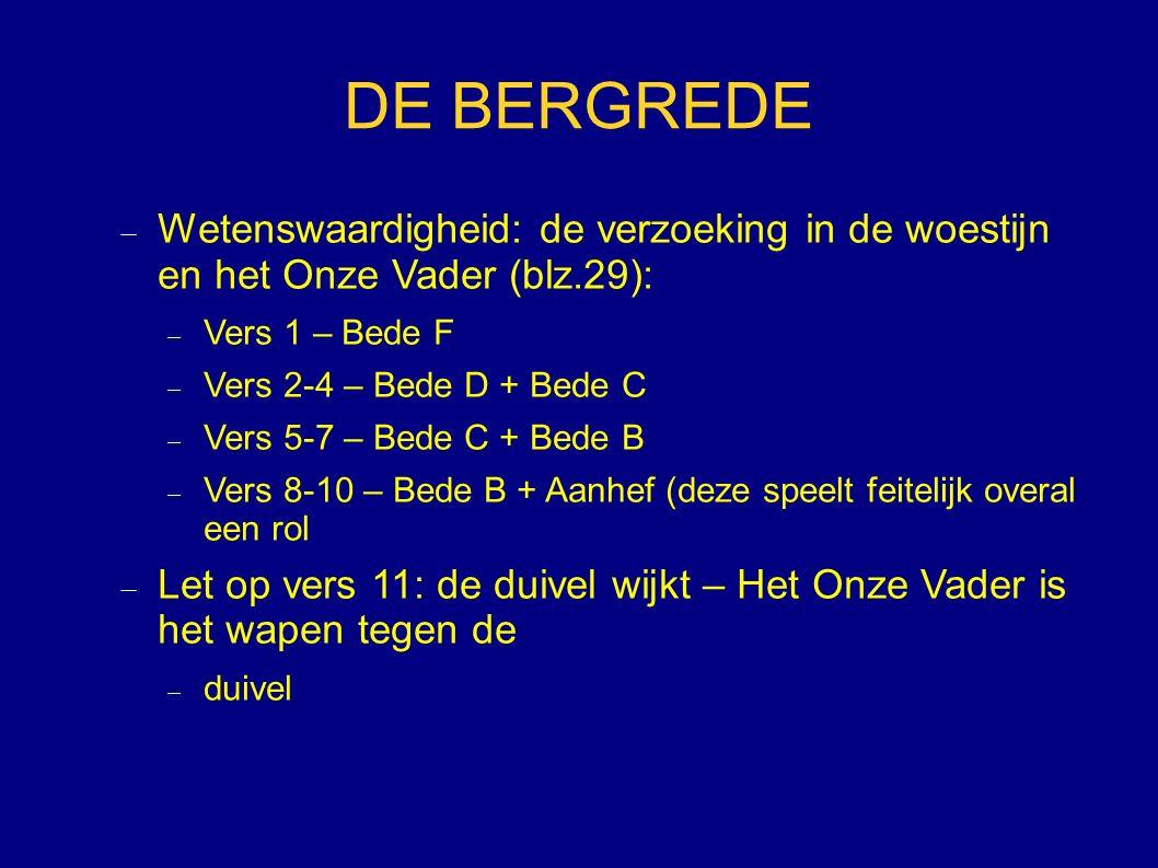 DE BERGREDE  Wetenswaardigheid: de verzoeking in de woestijn en het Onze Vader (blz.29):  Vers 1 – Bede F  Vers 2-4 – Bede D + Bede C  Vers 5-7 –