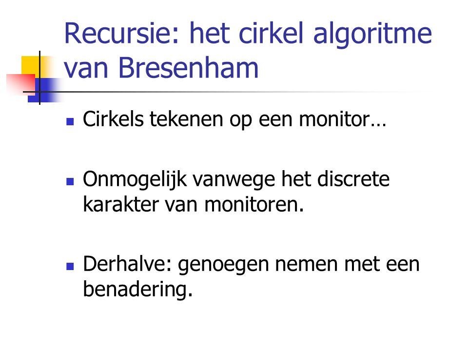 Recursie: het cirkel algoritme van Bresenham Cirkels tekenen op een monitor… Onmogelijk vanwege het discrete karakter van monitoren. Derhalve: genoege