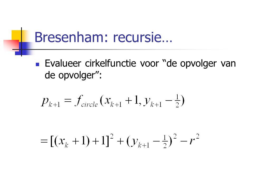 """Bresenham: recursie… Evalueer cirkelfunctie voor """"de opvolger van de opvolger"""":"""