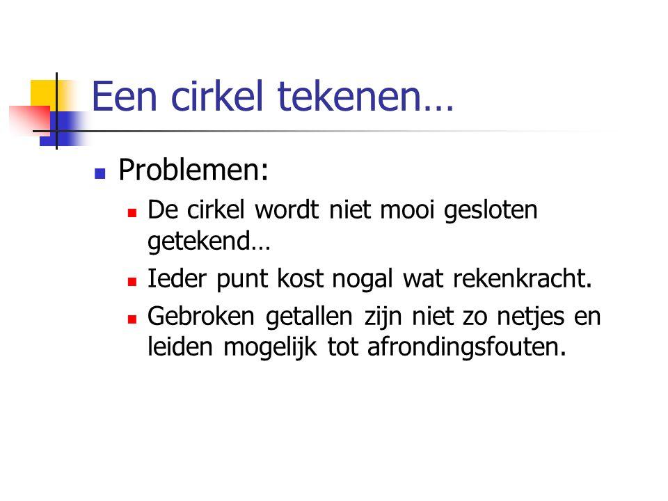 Een cirkel tekenen… Problemen: De cirkel wordt niet mooi gesloten getekend… Ieder punt kost nogal wat rekenkracht. Gebroken getallen zijn niet zo netj