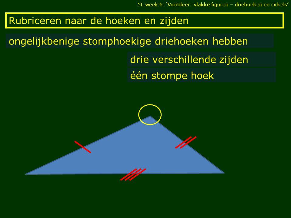 Rubriceren naar de hoeken en zijden 5L week 6: 'Vormleer: vlakke figuren – driehoeken en cirkels' ongelijkbenige stomphoekige driehoeken hebben drie v