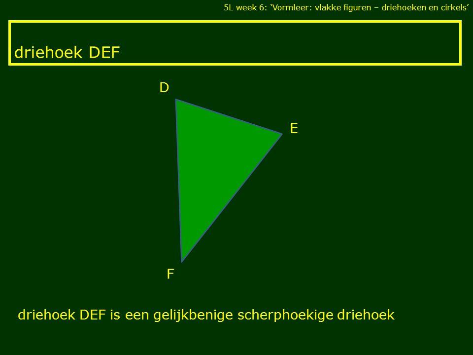 driehoek DEF 5L week 6: 'Vormleer: vlakke figuren – driehoeken en cirkels' F E D driehoek DEF is een gelijkbenige scherphoekige driehoek