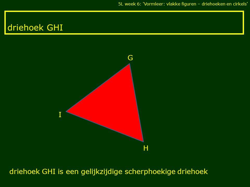 driehoek GHI 5L week 6: 'Vormleer: vlakke figuren – driehoeken en cirkels' I H G driehoek GHI is een gelijkzijdige scherphoekige driehoek
