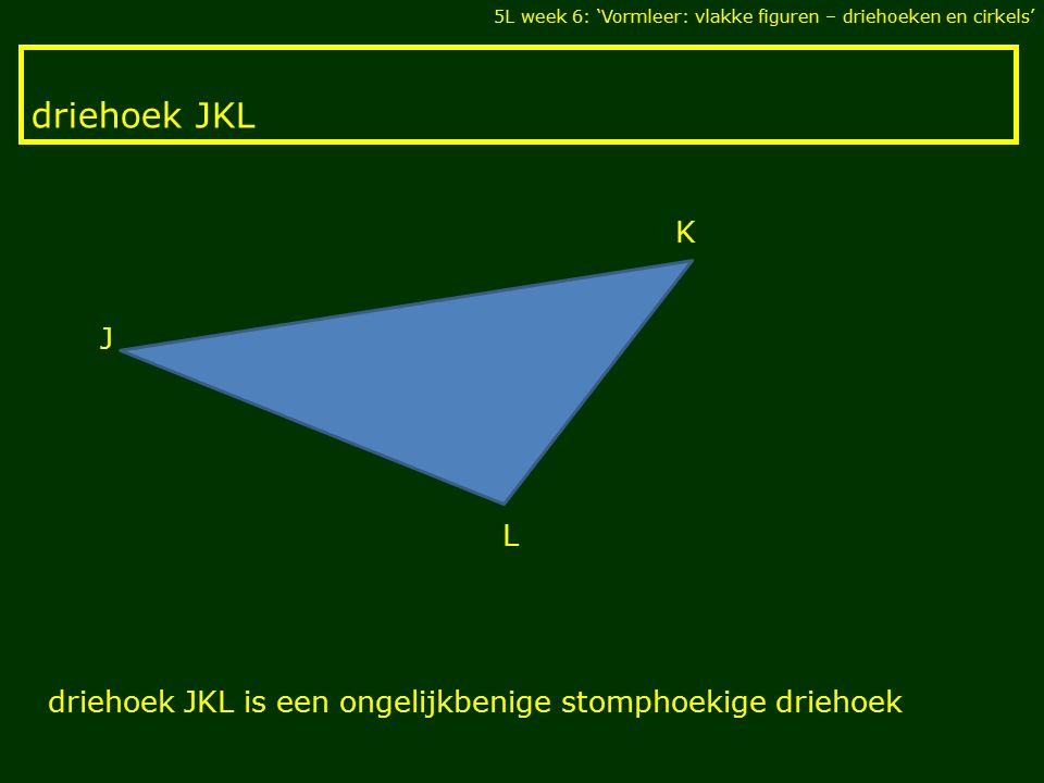 driehoek JKL 5L week 6: 'Vormleer: vlakke figuren – driehoeken en cirkels' L K J driehoek JKL is een ongelijkbenige stomphoekige driehoek