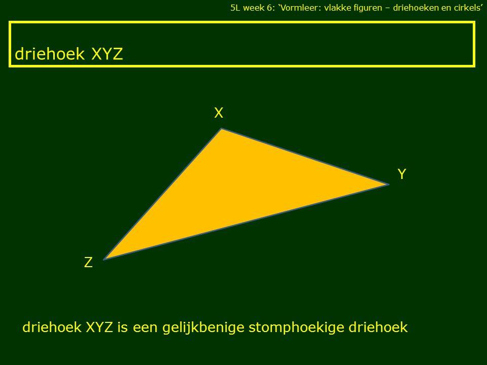 5L week 6: 'Vormleer: vlakke figuren – driehoeken en cirkels' X Y Z driehoek XYZ driehoek XYZ is een gelijkbenige stomphoekige driehoek