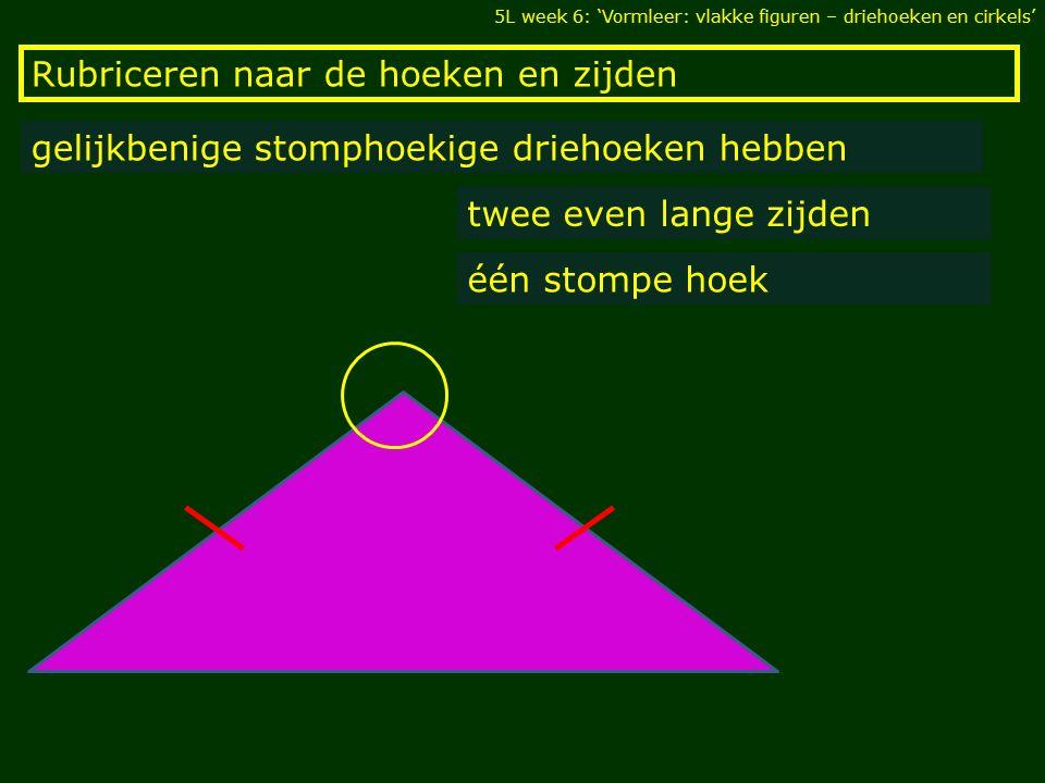 Rubriceren naar de hoeken en zijden 5L week 6: 'Vormleer: vlakke figuren – driehoeken en cirkels' gelijkbenige stomphoekige driehoeken hebben twee eve