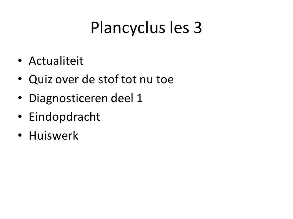 Plancyclus les 3 Actualiteit Quiz over de stof tot nu toe Diagnosticeren deel 1 Eindopdracht Huiswerk
