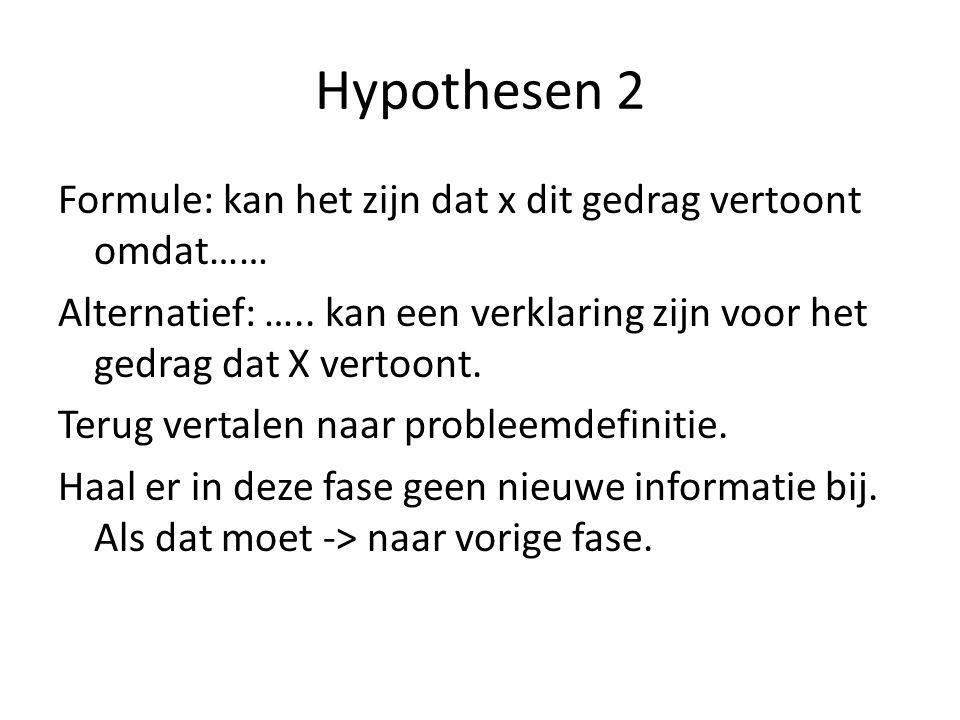 Hypothesen 2 Formule: kan het zijn dat x dit gedrag vertoont omdat…… Alternatief: …..