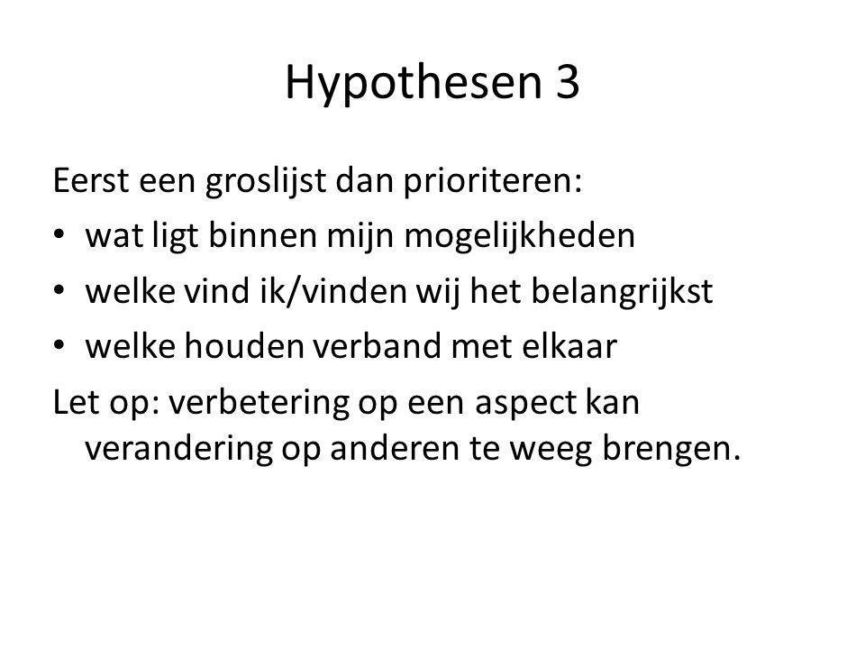 Hypothesen 3 Eerst een groslijst dan prioriteren: wat ligt binnen mijn mogelijkheden welke vind ik/vinden wij het belangrijkst welke houden verband met elkaar Let op: verbetering op een aspect kan verandering op anderen te weeg brengen.