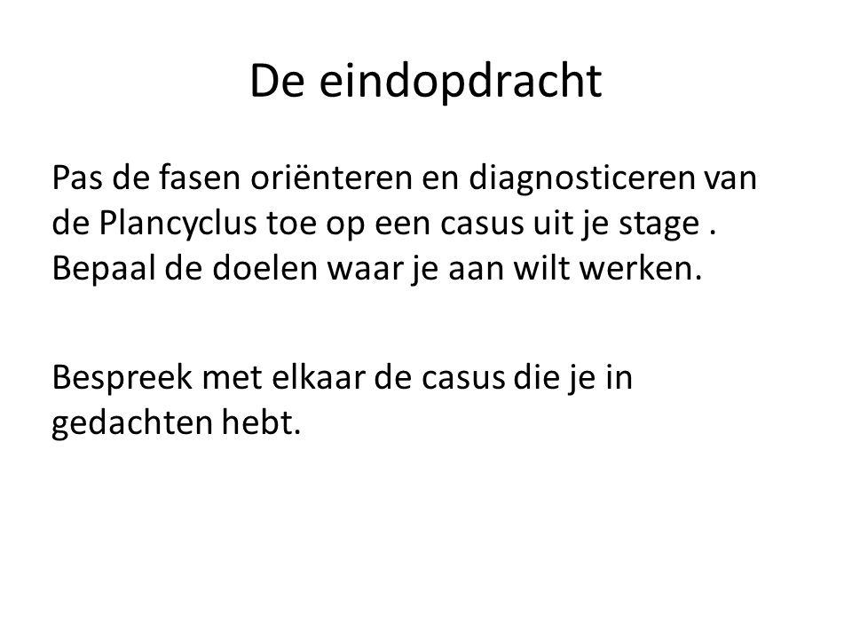 De eindopdracht Pas de fasen oriënteren en diagnosticeren van de Plancyclus toe op een casus uit je stage.