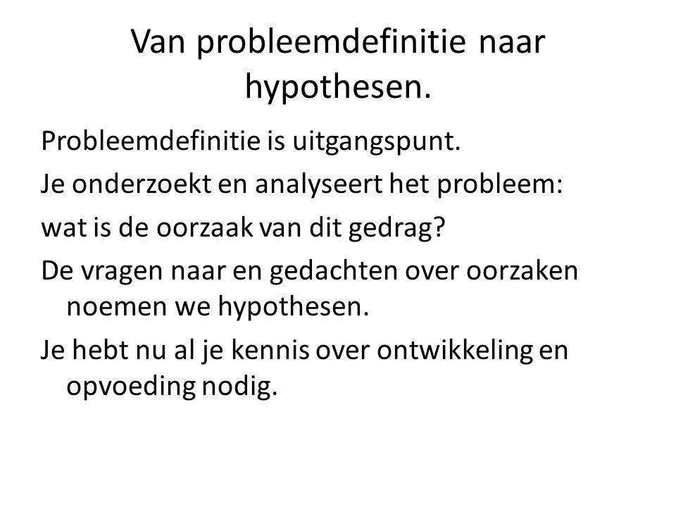 Van probleemdefinitie naar hypothesen. Probleemdefinitie is uitgangspunt.